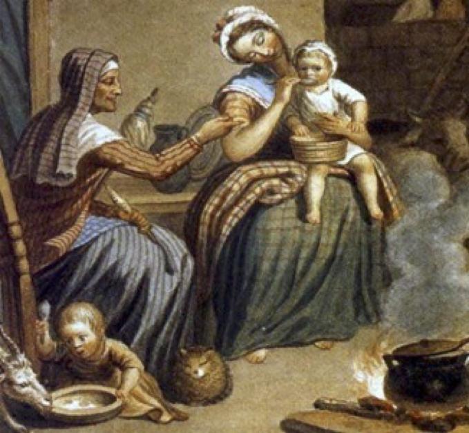 "Detail from David Allan's ""Scottish Highland Family."""