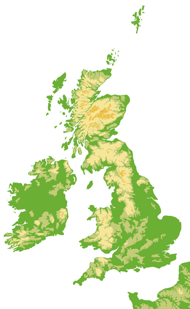 Map of the UK showing where the high ground is