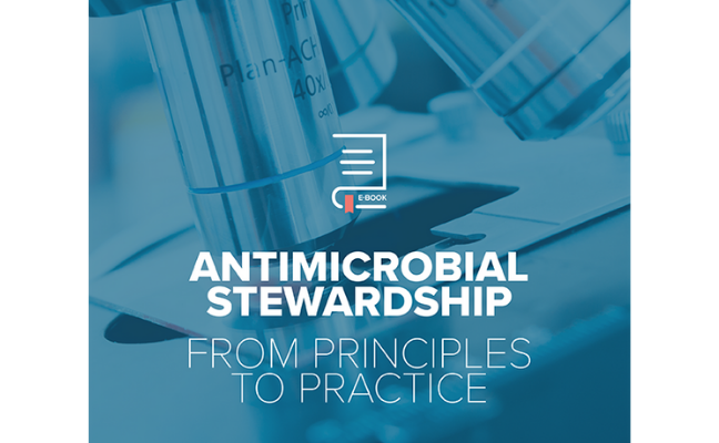 "The cover of the eBook ""Antimicrobial stewardship from principles to practice"""