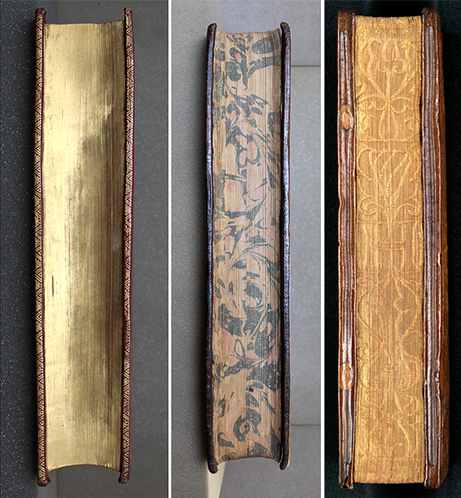 Edge decoration: On the left we see a gilded fore-edge on Edward Worth's copy of *Rhetores Graeci* (Venice, 1508); and, in the centre, a marbled fore-edge on his copy of Thomas Frankland, *The annals of King James and King Charles the First* (London, 1681) © The Trustees of the Edward Worth Library, Dublin. On the right is an example of a gauffered fore-edge on Quintus Calaber, *Derelictorum ab Homero* (Venice: Aldus, 1505). © The Board of Trinity College Dublin.