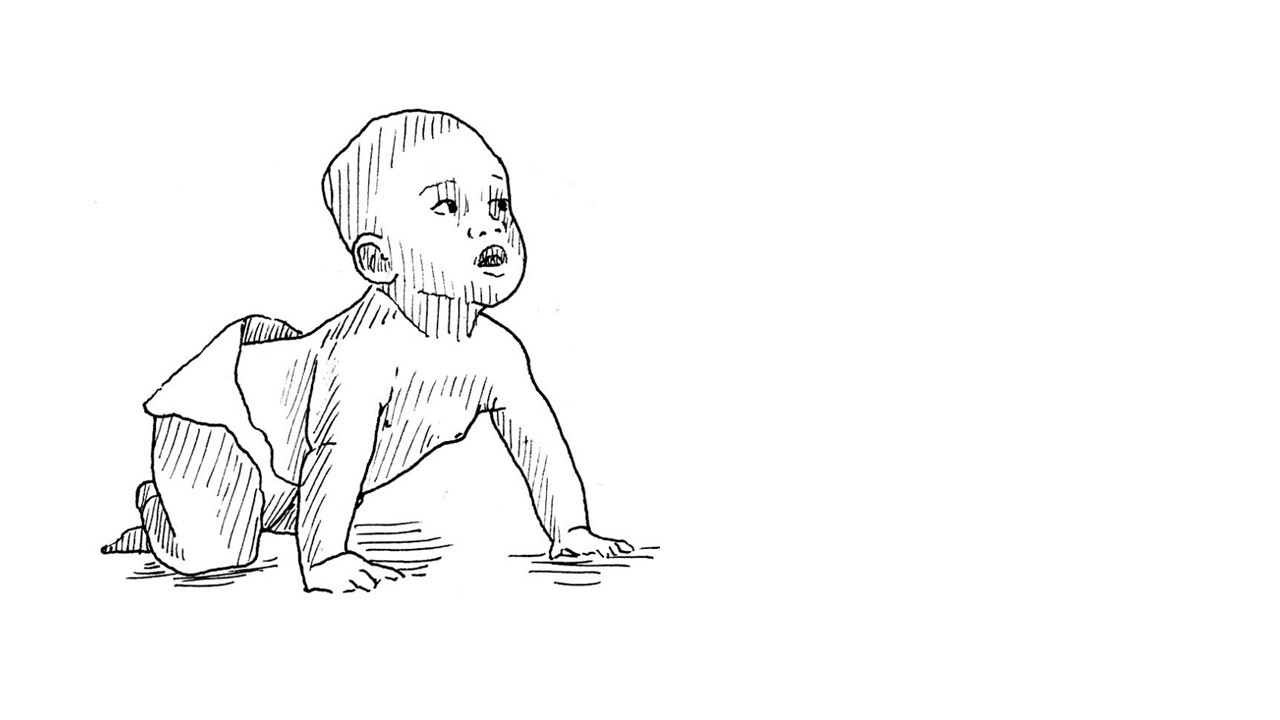 Illustration of a young child crawling