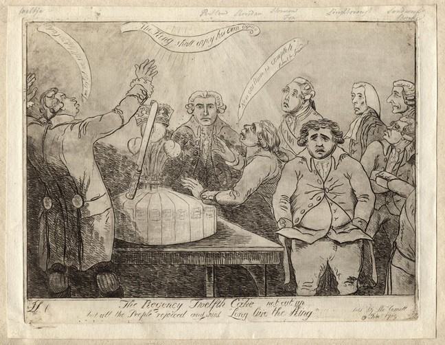 "An etching of a group of men around a table with a twelfth cake on top of it. At the bottom of the etching there is text that reads: The Regency Twelfth Cake not cut up, And all the People rejoiced and said ""Long live the King"""