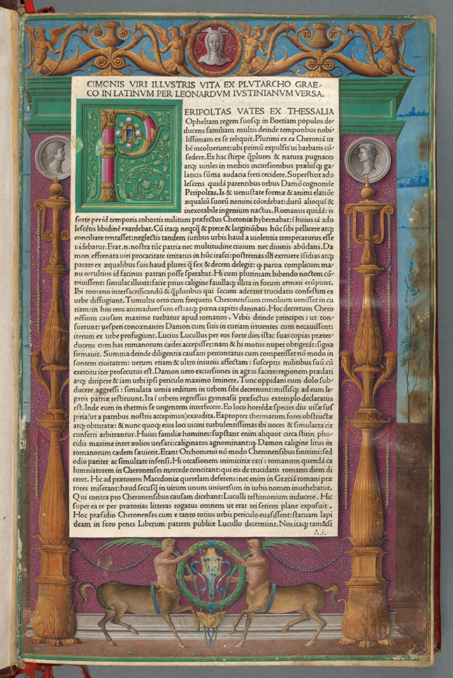A page from Plutarch, *Vitae Virorum Illustrium* (Venice, 1478), vol. 2, fol. 1r. © The Board of Trinity College Dublin with colored detailing around the side of the page and text in the middle in Latin.