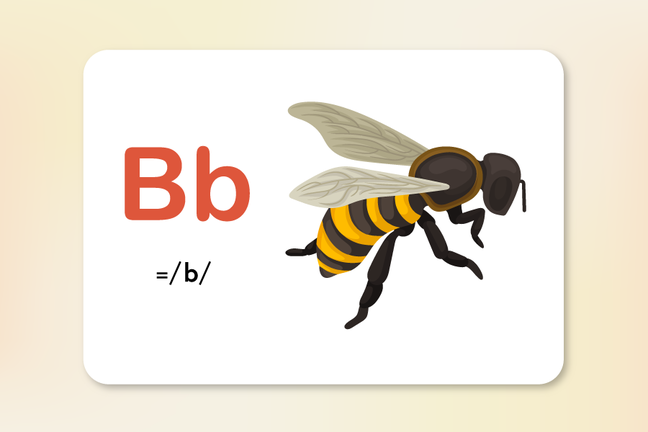 The letter b and the sound b represented by the insect bee