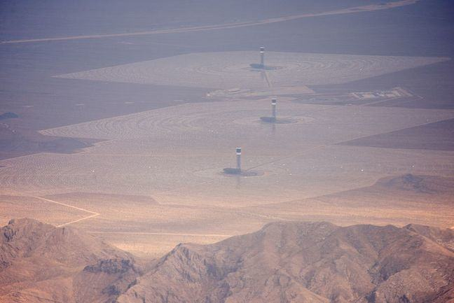 Aerial photograph of Ivanpah Solar Power Facility, California