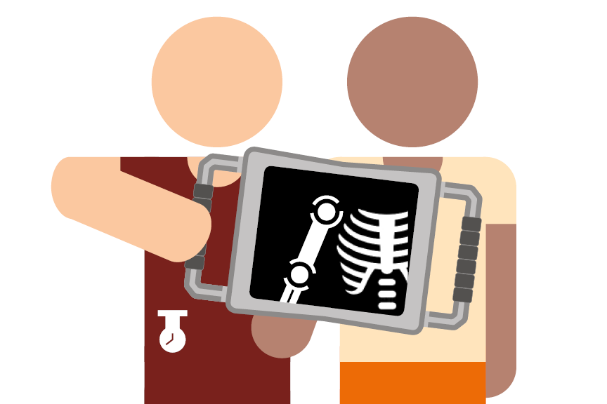 Illustration of a patient being x-rayed with a handheld scanner