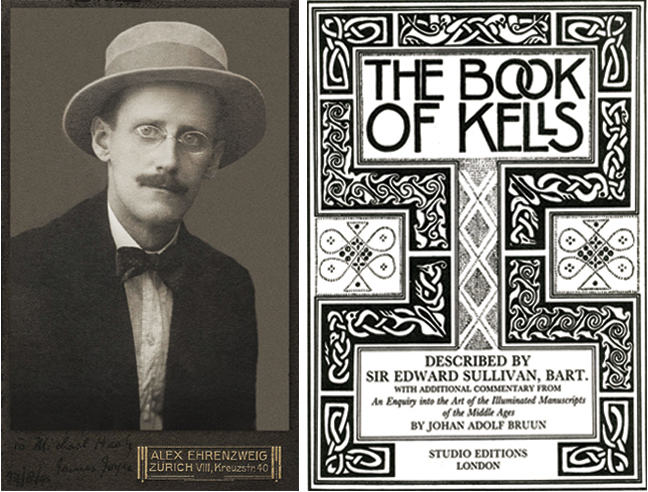 Figures 1 and 2. James Joyce and the cover of Edward Sullivan's book on the Book of Kells