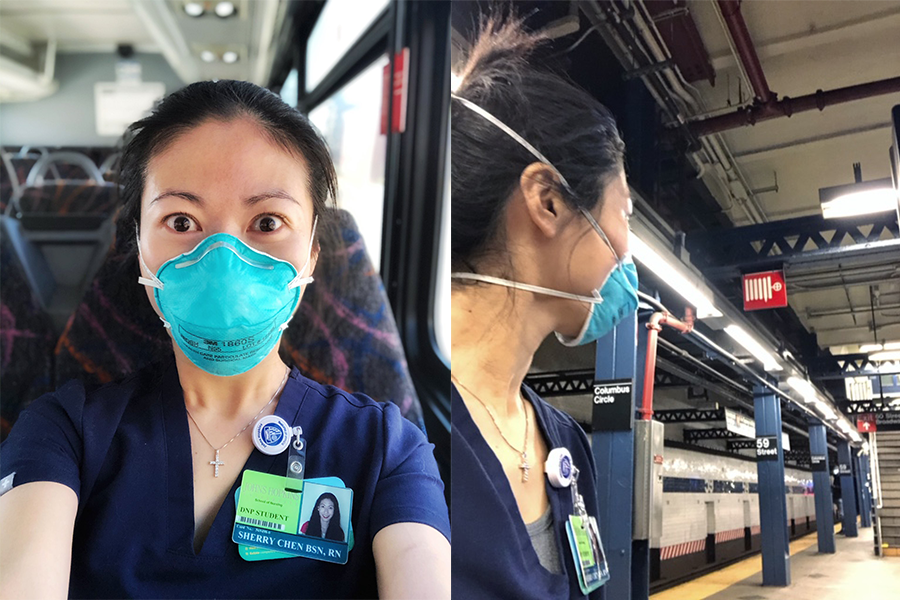 Sherry, who is wearing a face mask, travelling on a bus to New York, and Sherry waiting for the subway