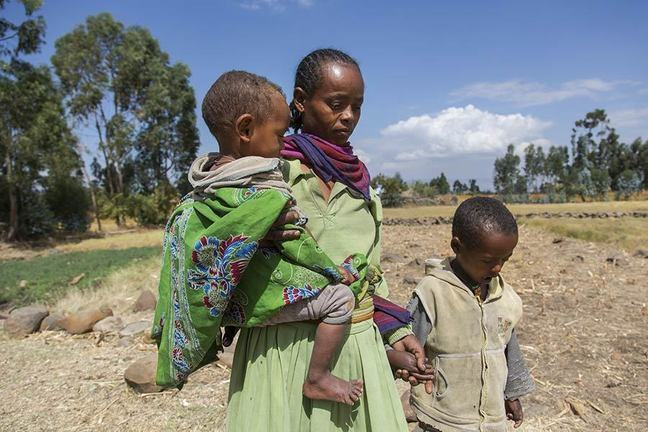 Woman and two children, Ethiopia