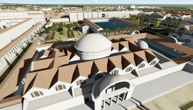 A digital recreation of a large bath house that is symmetrical in shape and has several pools