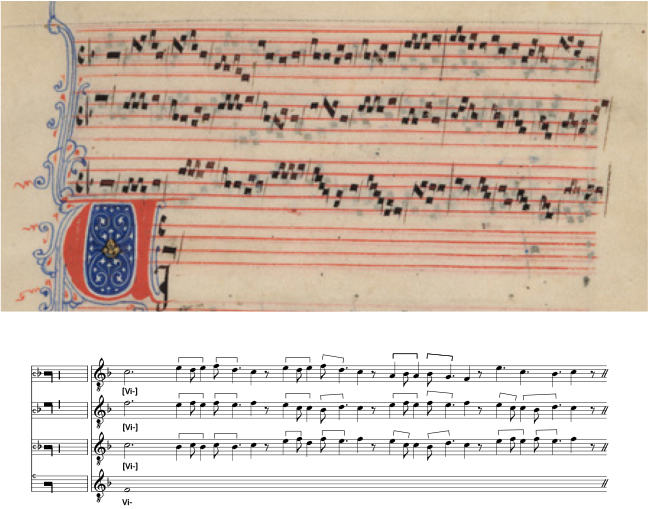 Ancient music sheet with modern transcription below
