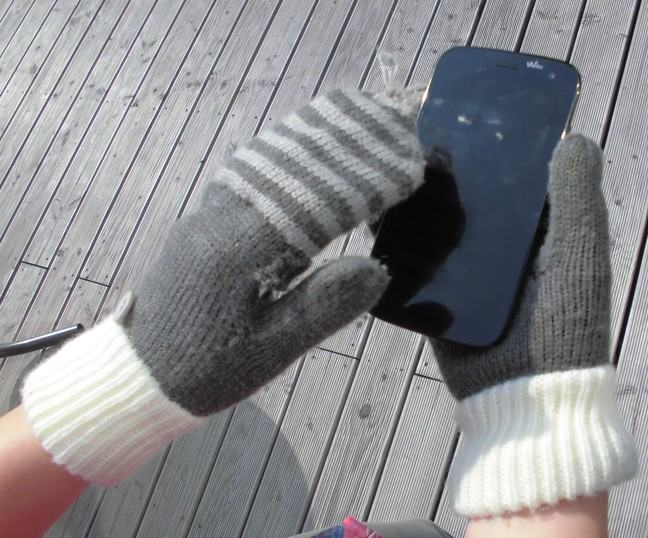 Alt text: hand wearing mittens is operating a touchscreen