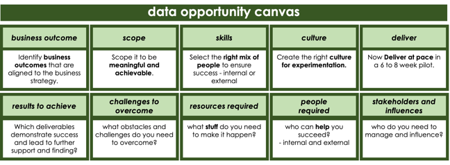 Table shows the 10 elements of the business opportunity canvas: 1. business outcome - identify outomes aligned to the business strategy. 2. Scope  - scoped to be meaningful and achievable. 3. Skills - Select the right mix of people  for success (internal and external). 4. Culture - create the clulture for experimentation. 5. Deliver - at pace in 6-8 week pilot. 6. Results to achieve - Which deliverables show success and lead to further support and funding? 7. Challenges to overcome - What obstacles and challenges will you face? 8. Resources - what do you need to make it happen. 9. People (internal and external) - who can help you succeed? 10 Stakeholders and influencers - who do you need to manage and influence?