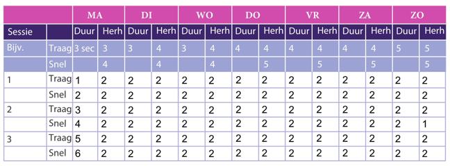 Deze tabel geeft een voorbeeld aan hoe een bekkenbodemspieroefeningschema er uit kan zien. In de tabel kun je per dag aangeven hoeveel herhalingen en lengte van aanspanning er waren.