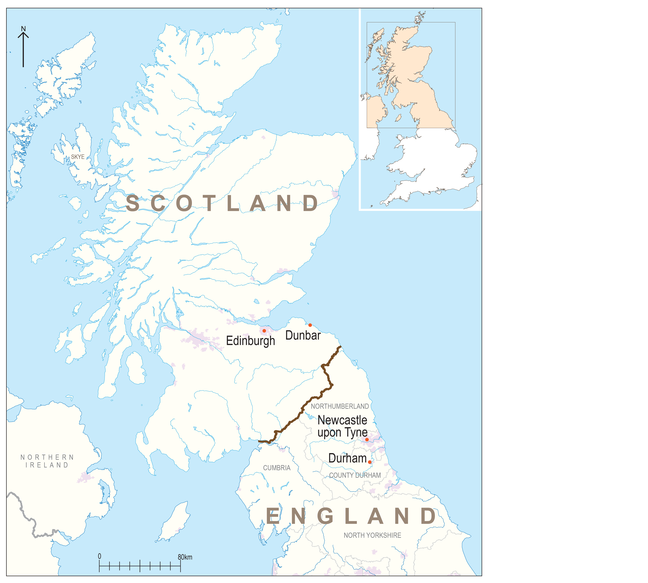 Map showing the location of Scotland, England and Durham