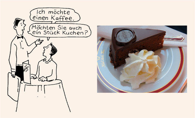 "A line drawing and a photo. The line drawing shows a diner saying to the waiter: ""Ich möchte einen Kafee."" The waiter is asking: ""Möchten Sie auch ein Stück Kuchen?"" The photo shows a plate with a portion of Sachertorte (chocolate cake), with whipped cream on the side."