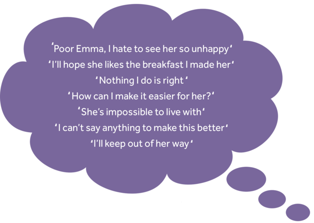 Lucy's thoughts: Poor Emma, I hate to see her so unhappy I'll hope she likes the breakfast I made her Nothing I do is right How can I make it easier for her? She's impossible to live with I can't say anything to make this better I'll keep out of her way