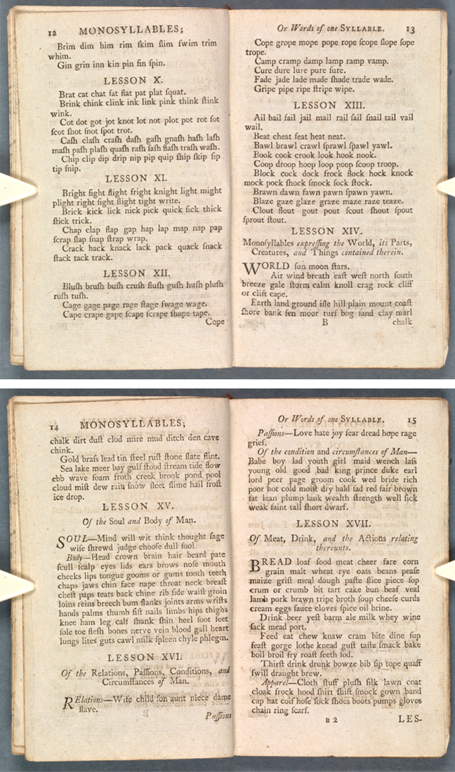 Pages from Sarah Trimmer, *The charity school spelling book. Part I. Containing the alphabet, spelling lessons, and short stories … in words of one syllable only* (London, 1799), p 27
