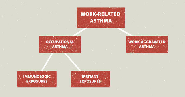 Work-related asthma can be divided into occupational asthma and work-aggravated asthma.