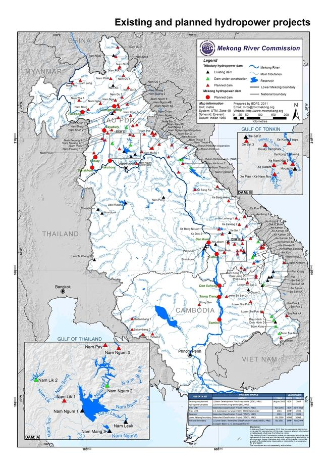 Existing and planned hydropower projects - MRC