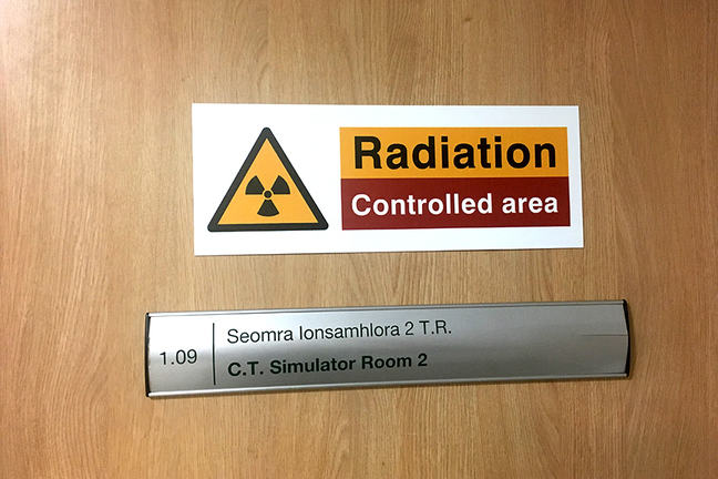 Radiation control sign