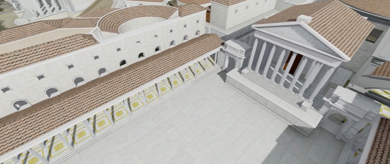 A digital recreation of the a white building with a large rectangular courtyard