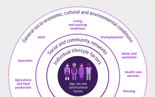 Diagram illustrating how age, sex and constitutional factors, individual lifestyle factors, social and community networks and general socio-economic, cultural and environmental conditions impact on health.