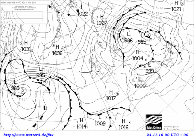 Black and white weather map from November 2010