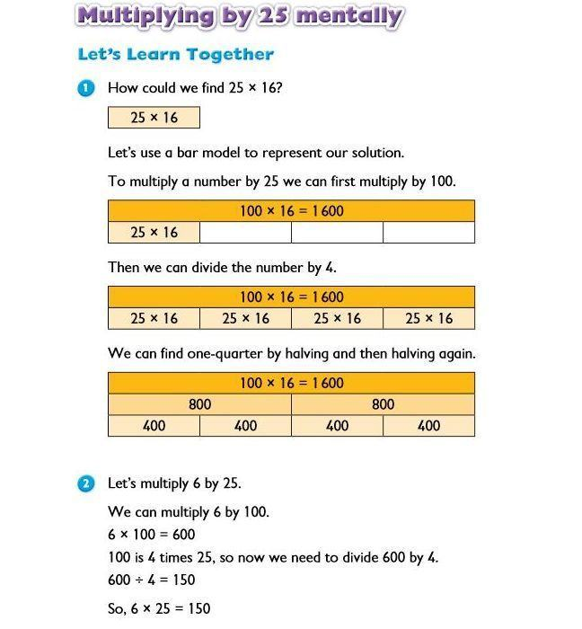 Example task using the bar model method to multiply a number with 25. There is a PDF with the full task at the bottom of the page