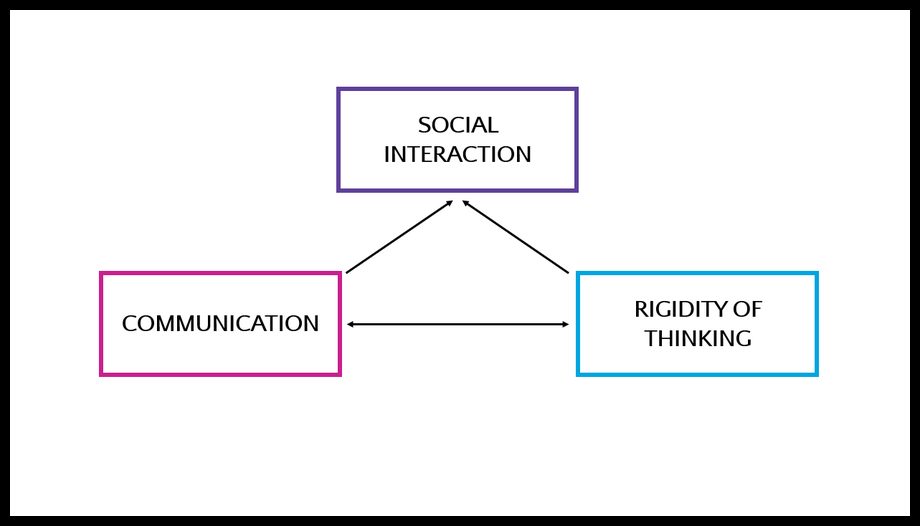The autism triad of impairments - social interaction, communication and rigidity of thinking