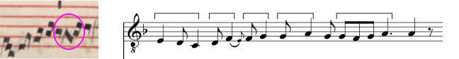 Fractio modi from the Transcription of the clausula Go