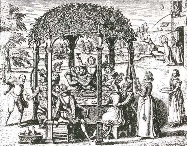 A ink drawing of a garden party with people sitting around a round table