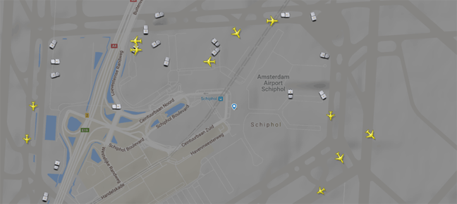 Screenshot of Flightradar showing Schiphol airport