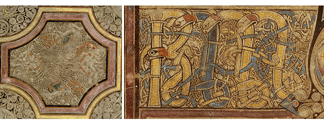 Figures 3 - 4, from the Book of Kells, an image of men entangled in an interlaced pattern, and images of lions used in lettering, respectively