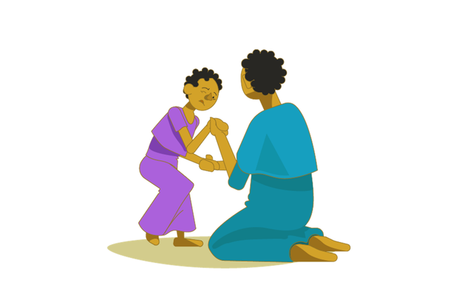 Illustration of a mother helping a young girl walk. She is supporting the girls hands as she tried to walk with a look of concentration on her face
