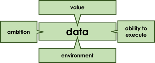 Image showing value, environment, organisation and ability to execute - all linked to data