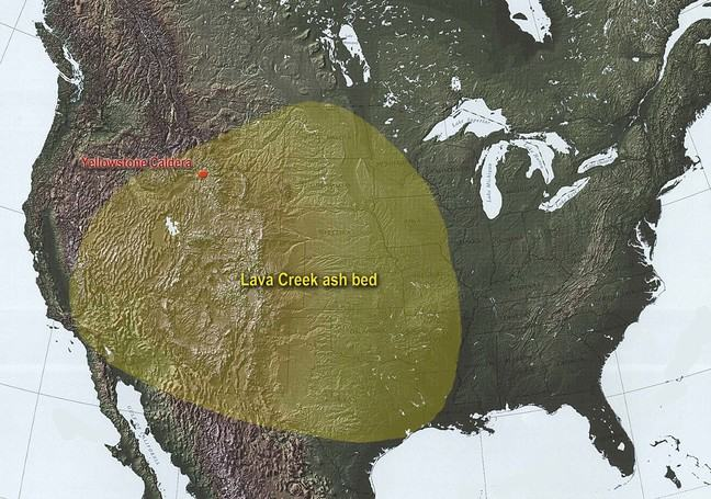 Map of the area surrounding Yellowstone Park, USA, with an area highlighted to show the extent to which the Lava Creek ash bed spread across large areas of modern day USA