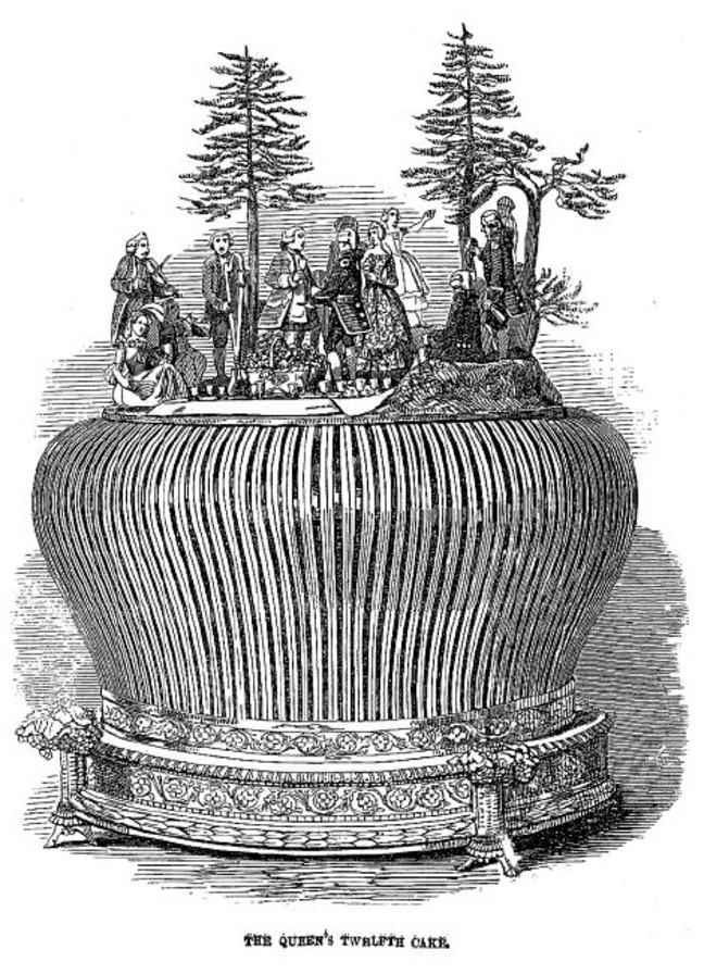 A black and white illustration of a Twelfth cake, with a picnic scene on the top