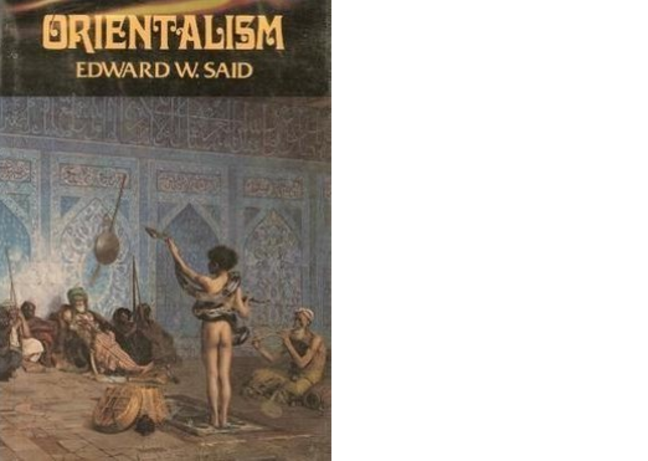 The cover of the book 'Orientalism' by Edward Said. The cover depicts a scene presumably in the court of an Arab or middle eastern kingdom complete with a snake charmer and other stereotypical elements