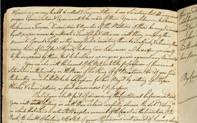 Secret instructions given to James Cook shows handwritten flourishing text