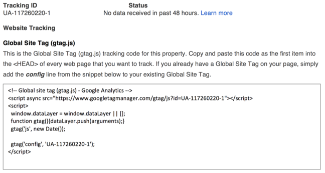 Details of the Tracking ID and Global Site tracking code snippet to be added to our web pages
