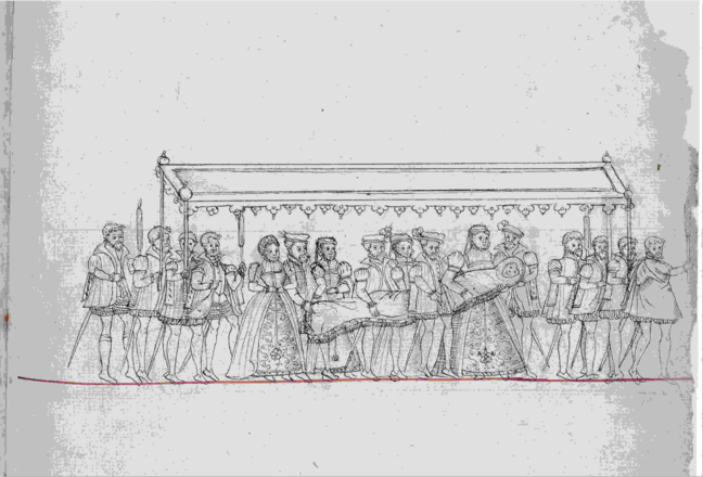 Line drawing of people walking in a line