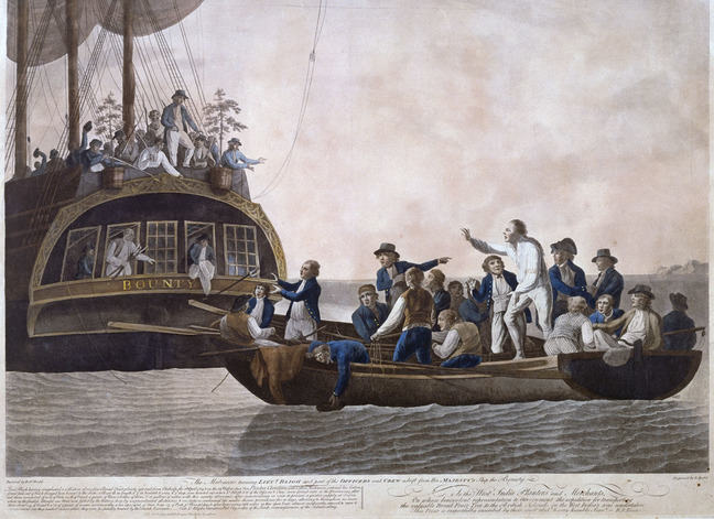 The Mutineers stand in large ship named Bounty gesticulating at the Crew in small boat below them on the sea, who gesticulate back