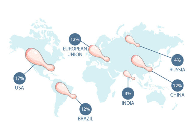 Map of world showing chicken production: 17% USA, 12% EU, 12% Brazil, 3% India, 12% China, 4% Russia