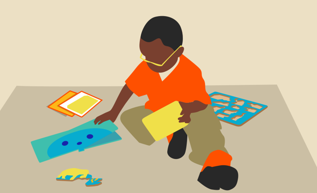 illustration of a small boy sitting on a mat on the floor, holding a tupperware box and reaching for a book. More books and a jigsaw are beside him