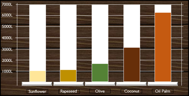 Graph showing the yield, in litres, of oil per hectare of crop. 1000 litres per hectare for sunflower, 1100 litres per hectare for rapeseed, 1700 litres per hectare for olive, 3100 litres per hectare for coconut and 6200 litres per hectare for Oil Palm. Oil palm has double the yield of the next highest crop, coconut.