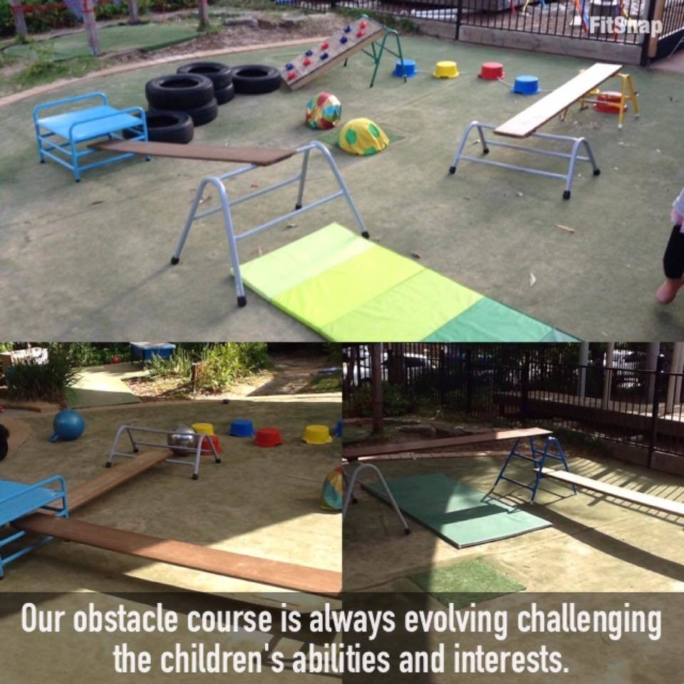 A photograph of outdoor obstacle courses at an early childcare centre
