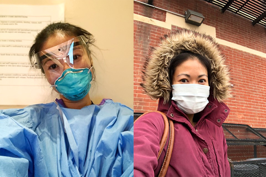 Two portrait photos of Sherry, one of her wearing personal protective equipment including a clear face shield at work, and one of her outside wearing a face mask and a red hooded coat