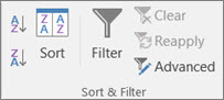 Screenshot of the 'Sort & Filter' section of the menu ribbon in Excel showing the 'Advanced' option