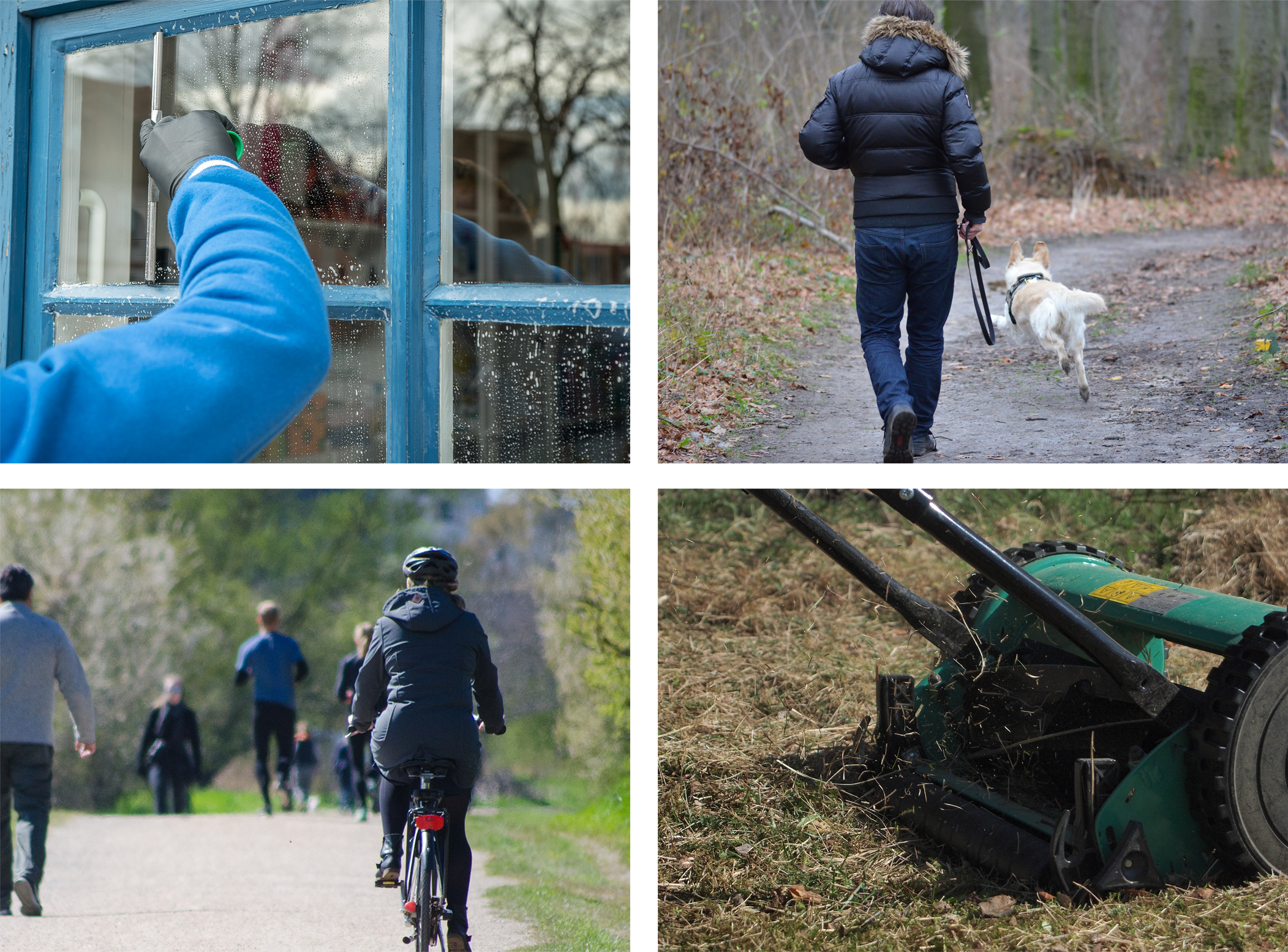 A collage of photos. Starting from top left going clockwise: someone cleaning windows, walking a dog, someone mowing the lawn and someone cycling